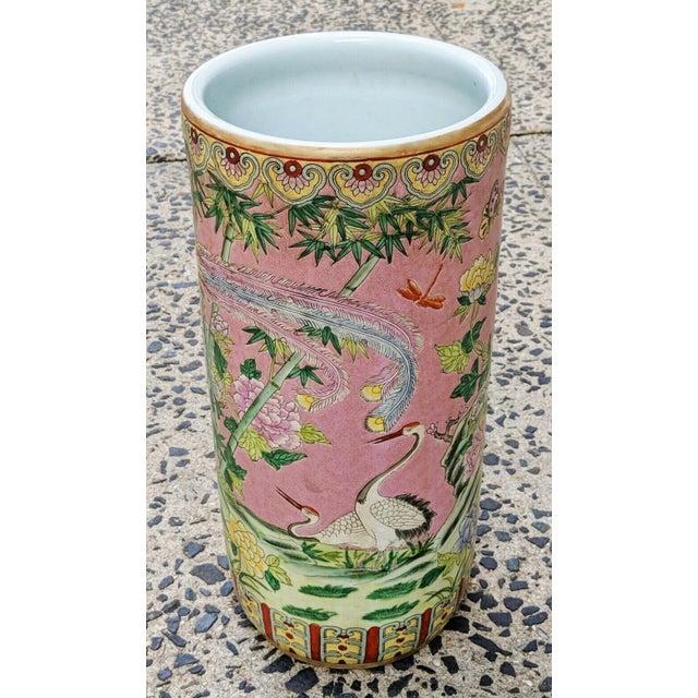 Vintage Chinese Famille Rose Medallion Porcelain Umbrella Stand For Sale - Image 11 of 11