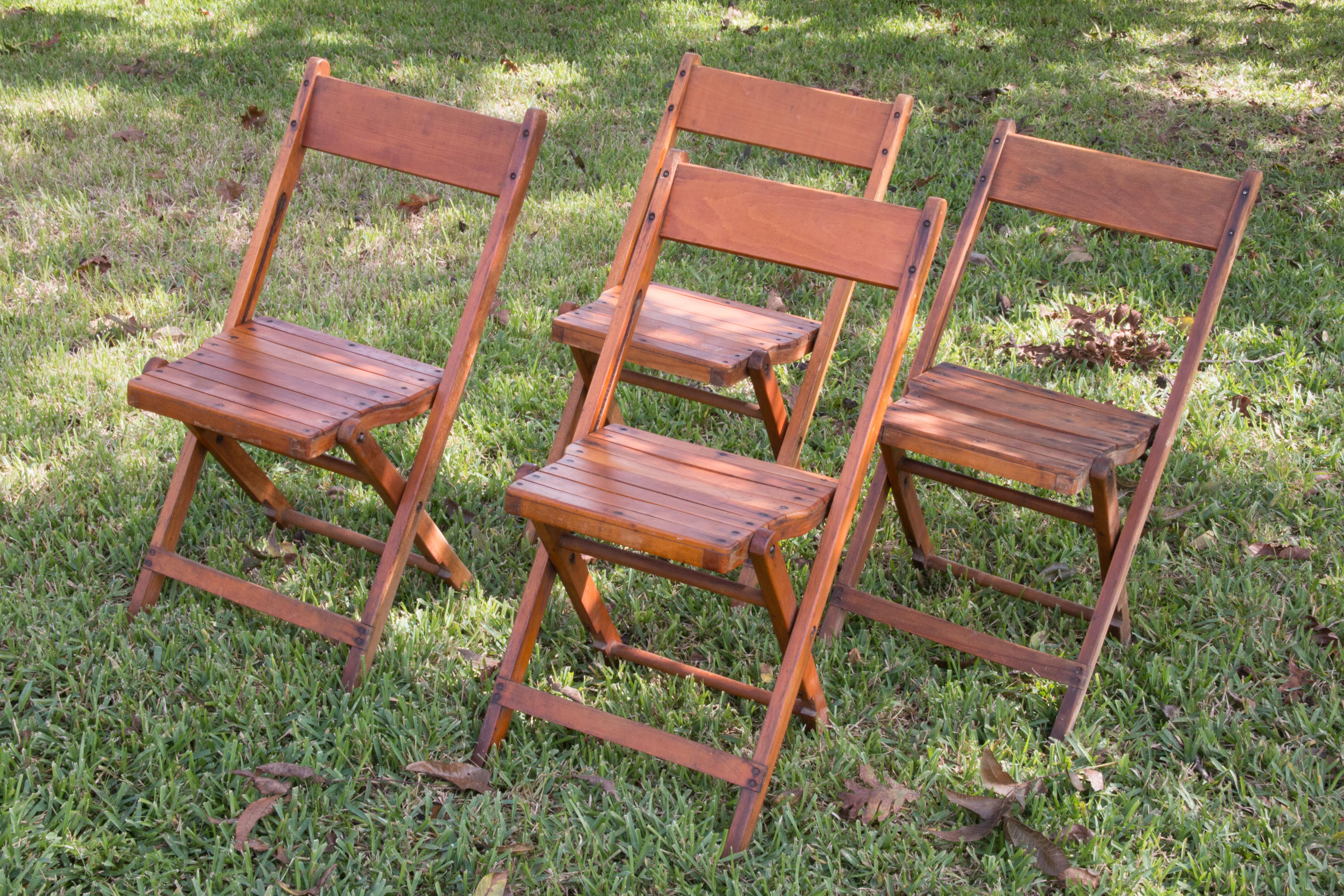 Charming Mid 20th Century Wooden Folding Chairs. Fine Quality Solid Wood.  These Would