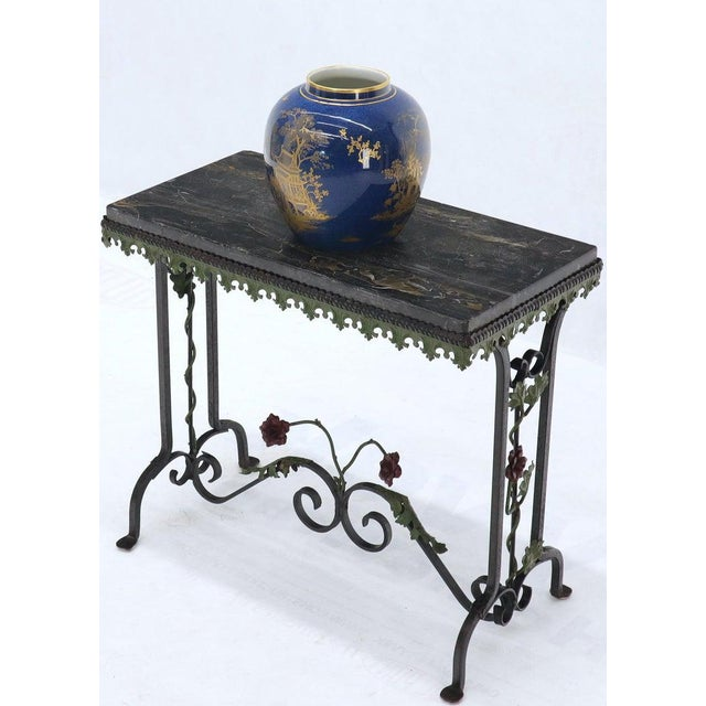 Black Marble Top Ornate Wrought Iron Side Console Table For Sale - Image 4 of 13