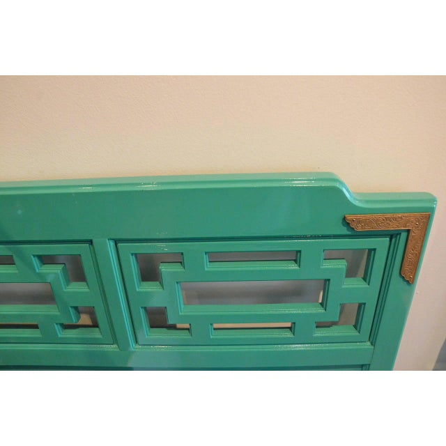 Mid Century Modern Hollywood Glam Brass & Lacquered Green Wood Queen Fretwork Headboard - Image 2 of 5