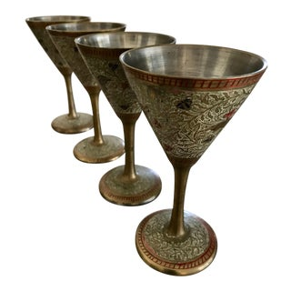 1940s Boho Chic Pewter Etched Enamel Cordial Stem Cocktail Glasses - Set of 4