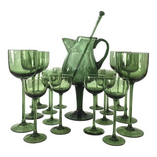 Mid-Century Green Glasses - Set of 18