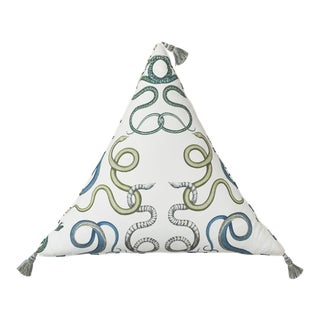 "Schumacher Charlap Hyman & Herrero 27"" Triangle Giove Pillow With Tassels in Emerald Sapphire For Sale"