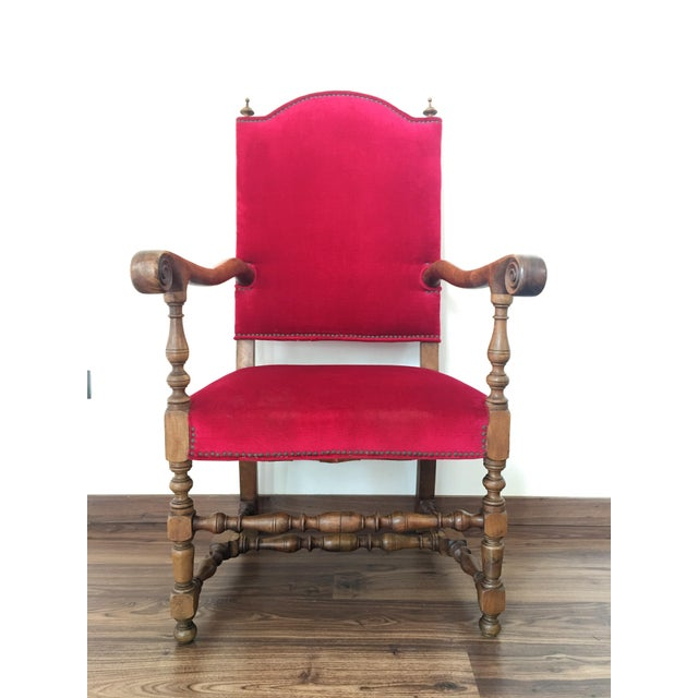 19th century Louis XIII style fauteuils throne armchair in red velvet Carved style walnut armchair Completely restored...