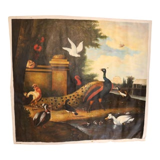 Vintage French Oil on Canvas of Peacock & Birds For Sale