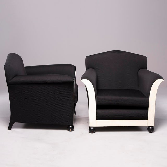 1930s French Art Deco Vellum Edged Club Chairs - a Pair For Sale - Image 5 of 12