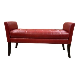 Late 20th Century Tufted Red Leather Bedroom Bench For Sale