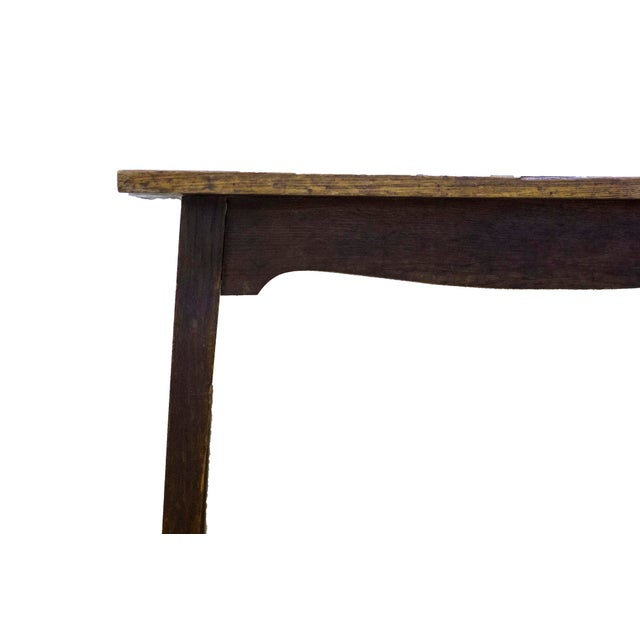 Antique English Wood and Tile Top Pub Table For Sale - Image 4 of 4