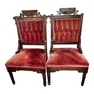 Late 19th Century Walnut and Velvet Side Chairs- A Pair For Sale