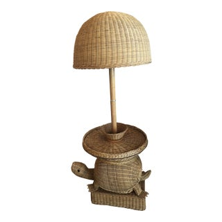 Vintage Wicker Turtle Floor Lamp End Side Table For Sale