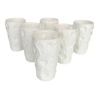 Mid Century Bryce Brothers 'El Rancho' Milk Glass Tumblers- Set of 6 For Sale