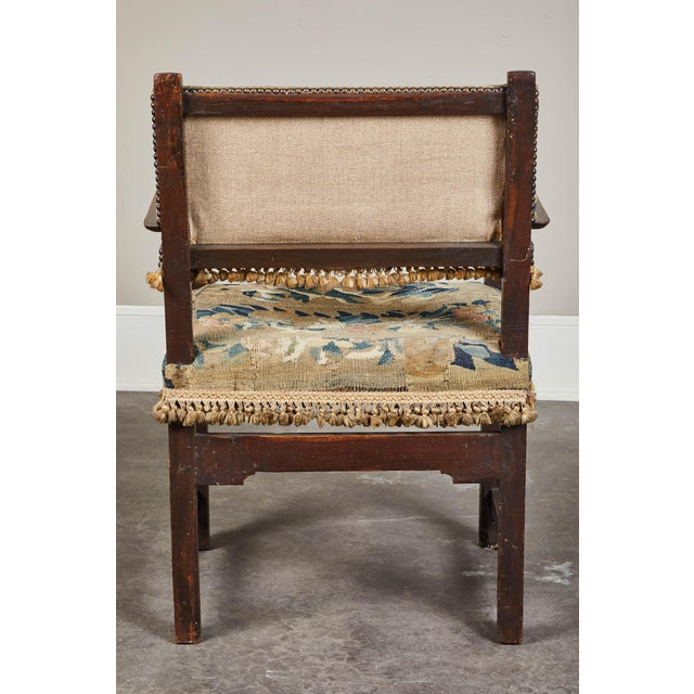 19th C. Spanish Walnut Chair With Embroidered Upholstery For Sale - Image 4 of 9