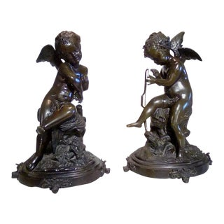 Cherubs Bronze Angels Figurines - a Pair For Sale