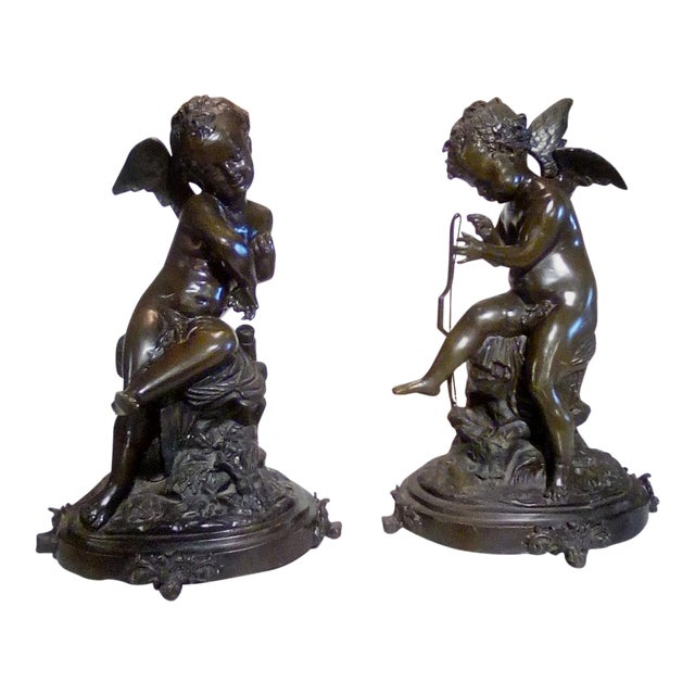 Cherubs Bronze Angels Figurines - a Pair For Sale