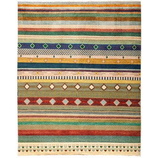 """Lori Hand Knotted Area Rug - 8'1"""" X 10'1"""" For Sale"""