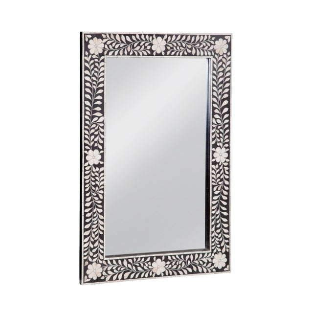 Contemporary Imperial Beauty Wooden and Bone Mirror Frame in Black/White, 24x36 For Sale - Image 3 of 3