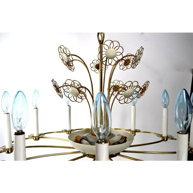 Mid-Century Modern Floral Chandelier by Lightolier After Tynell For Sale - Image 3 of 11