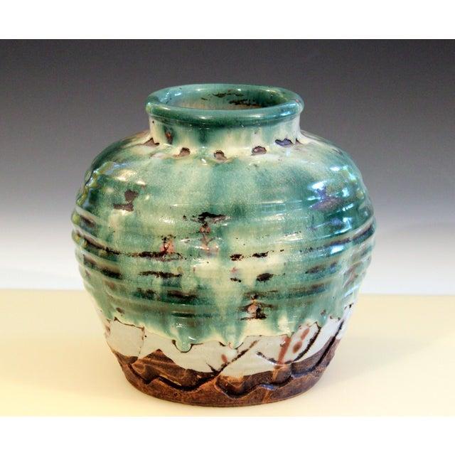 Awaji Pottery Manipulated Jar Heavy Drip Lava Glaze Wabi Sabi Tea Ceremony Vase For Sale - Image 10 of 12