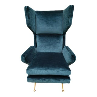 Mid Century Modern Gio Ponte Style Wingback Chair Newly Upholstered For Sale