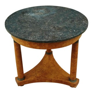 French Round Burled Walnut Directoire Bronze & Marble Top Empire Center Table For Sale