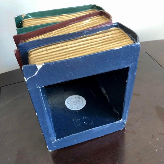 Green Trompe l'Oeil Papier Mache Stacked Books Tissue Box Cover For Sale - Image 8 of 9