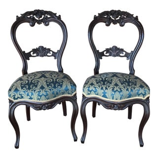 Antique French Wood Carved Side Chairs - a Pair