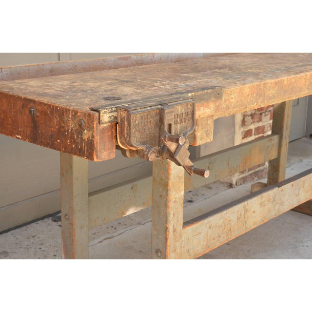 Early 20th Century Impressive Industrial Workbench With Cast Iron Vise For Sale In Los Angeles - Image 6 of 9