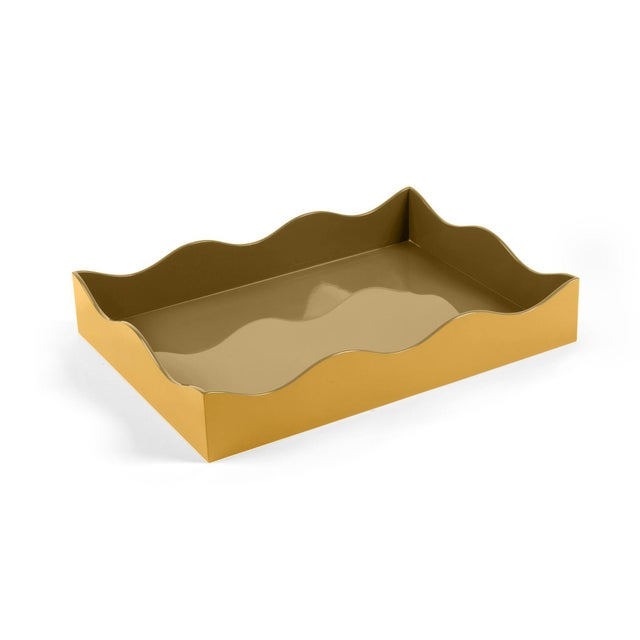 Modern The Lacquer Company for Chairish Belle Rives Tray in Mayan Gold / Olive, Large For Sale - Image 3 of 3