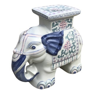 Hand Painted Ceramic Elephant Garden Stool For Sale
