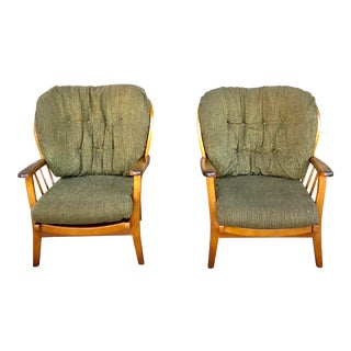 1970s Mid-Century Spindle Back Arm Chairs - a Pair For Sale