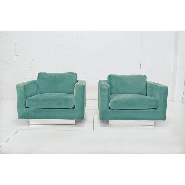 Blue 1960s Dunbar Velvet Tuxedo Sofa on Chrome Base, Edward Wormley For Sale - Image 8 of 9