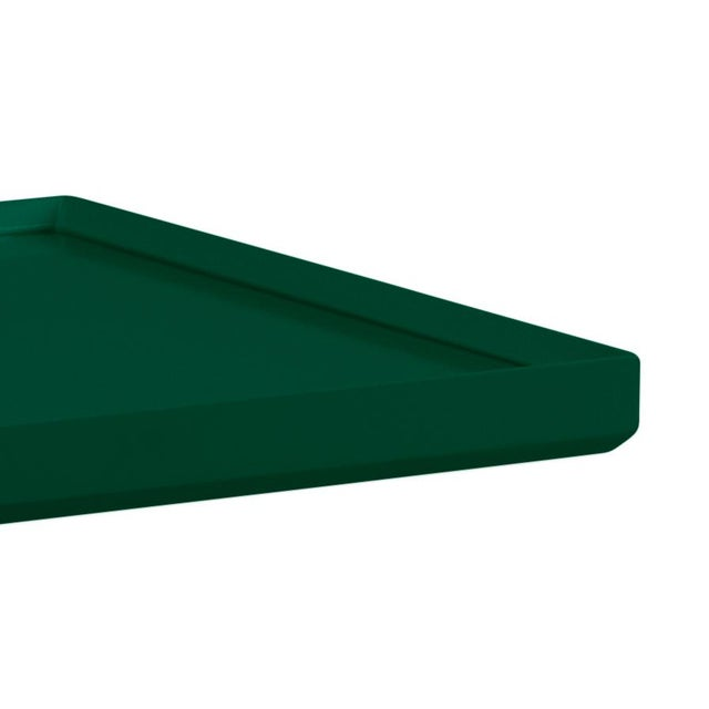 Made of acacia wood and topped with glass, our beveled spot table can do it all! Finish is Benjamin Moore Chrome Green.