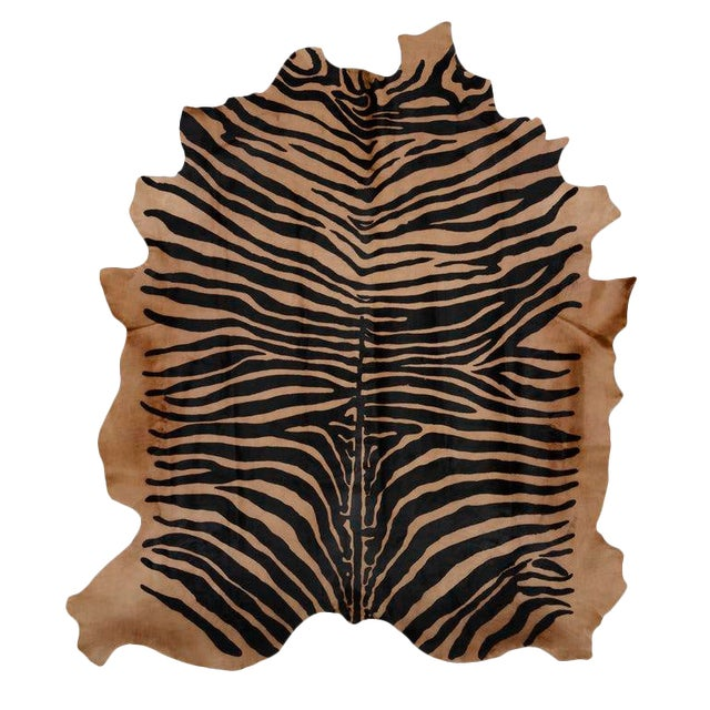Zebra Printed Cow Hide Rug - 7′ × 8′ For Sale