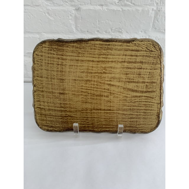 Rustic European 1970s Florentine Green and Gold Tray For Sale - Image 3 of 6