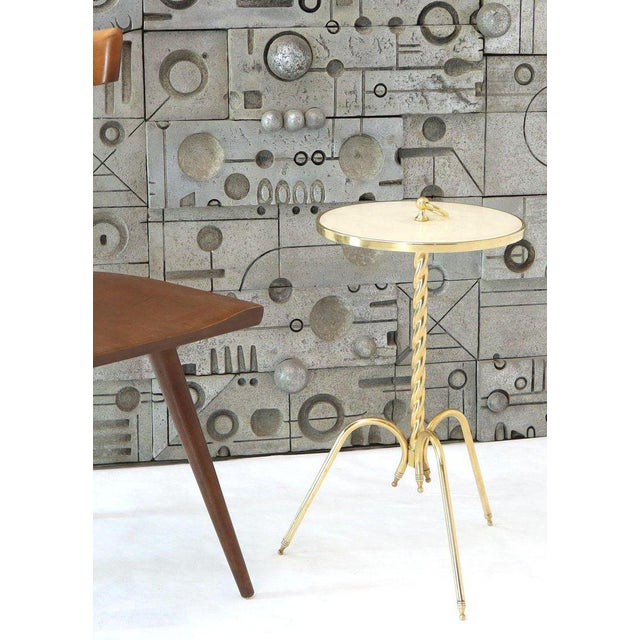 Italian Fine Solid Brass Profile With Onyx Top Side End Serving Accent Table, Italy For Sale - Image 3 of 11