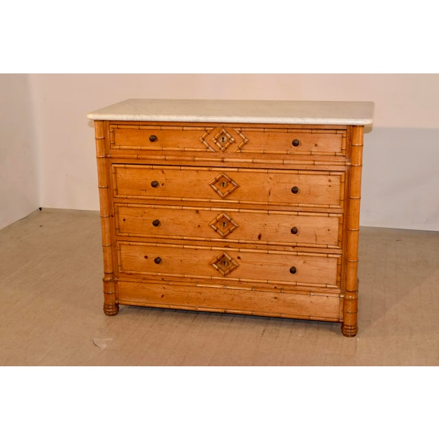 19th C French Faux Bamboo Chest of Drawers For Sale In Greensboro - Image 6 of 8