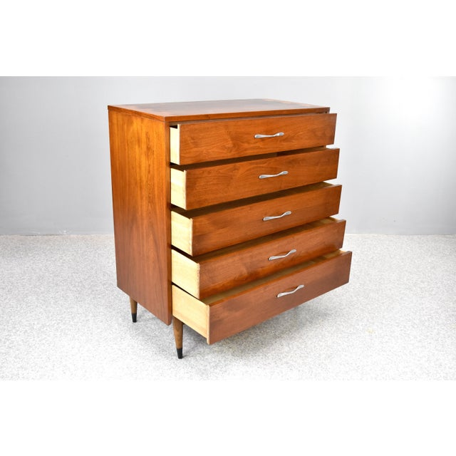 Lane Furniture Mid-Century Modern Highboy Chest by Lane Acclaim For Sale - Image 4 of 13