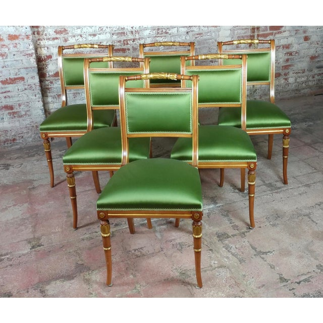 English Regency Parcel Gilt W/Satin Green Upholstery Dining Chairs -Set of 10 - Image 2 of 8