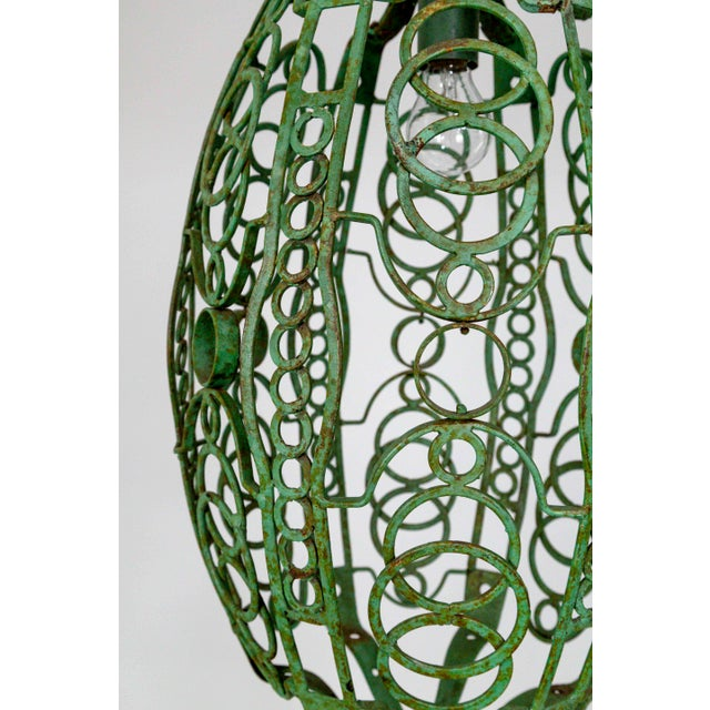 Art Deco 1920's Art Deco Green Oblong Cage Lantern With Circle Motif For Sale - Image 3 of 11