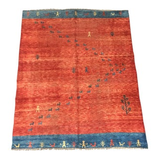 1960s Vintage Distressed Persian Gabbeh Rug - 8′7″ × 10′10″ For Sale