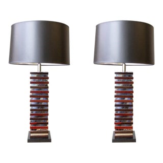 Stacked Wood and Chrome Table Lamps - a Pair For Sale