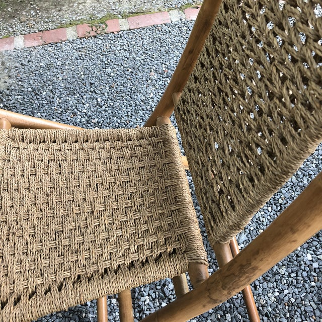 Mid-Century Modern Hans Wagner Style Bamboo Rope Folding Lounge Chairs - a Pair For Sale In Baltimore - Image 6 of 13