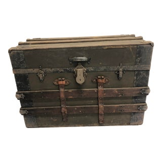 Vintage Industrial Wood Steamer Trunk For Sale