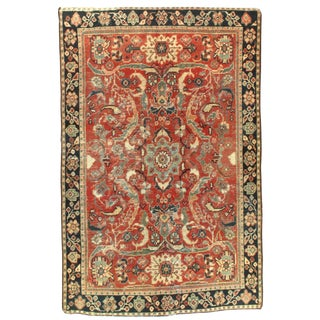 Early 20th Century Antique Persian Mahal Rug - 4′1″ × 6′3″ For Sale