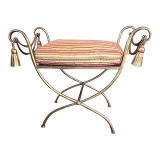 Antique Metal Bench with Tassels For Sale