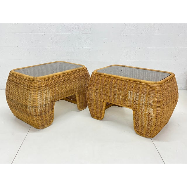 Wicker Mid-Century Modern Hand Made Sculptural Wicker Rattan Side Tables - a Pair For Sale - Image 7 of 13