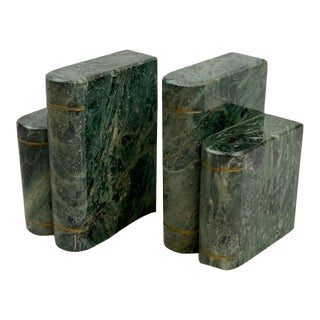 Vintage Italian Green Marble Book Sculpture Bookends - a Pair For Sale