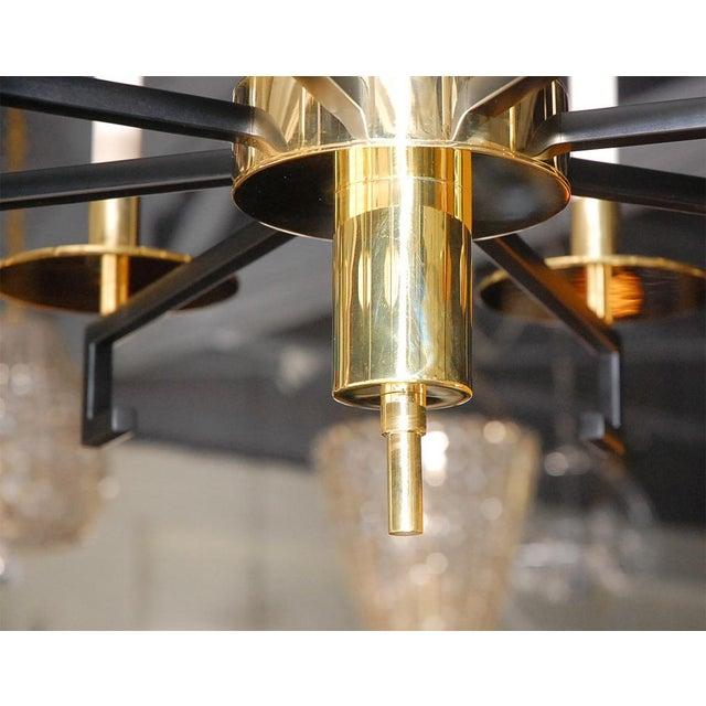 Customizable Paul Marra Design Greek Key Chandelier in Brass - Image 7 of 8