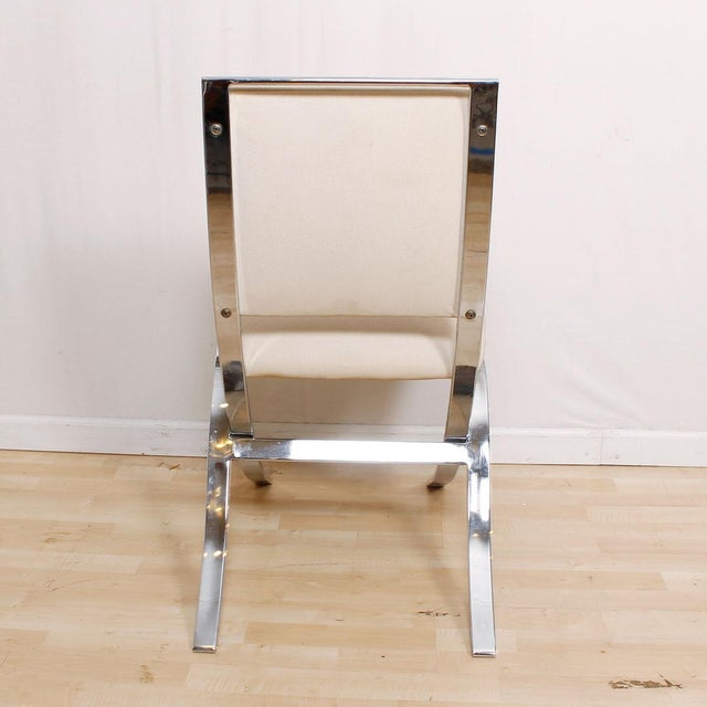 Barcelona Style Chrome & White Chairs - Set of 4 - Image 4 of 8