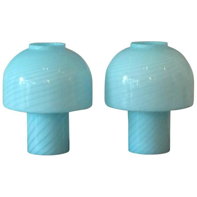 Vetri 1980s Vintage Vetri Murano Glass Blue Swirl Table Lamps - A Pair For Sale - Image 4 of 4